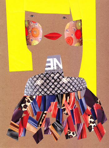 Jacinthe Chevalier dame madame bijoux bijou fille blonde collage carton brun