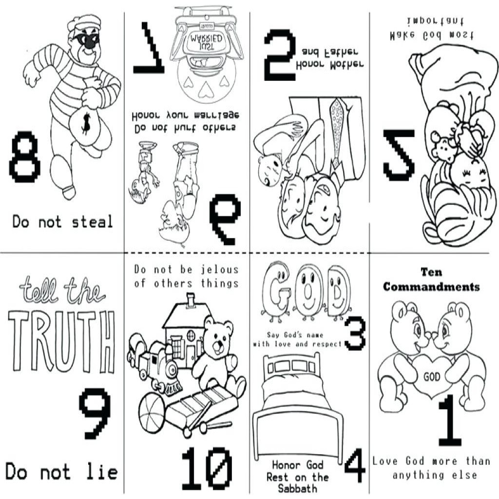 10 Commandments Coloring Pages Catholic | 10 gebote kinder | 1024x1024