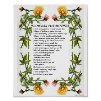 Flowers for Mothers Poetry Poster_Vintage Art Gift print
