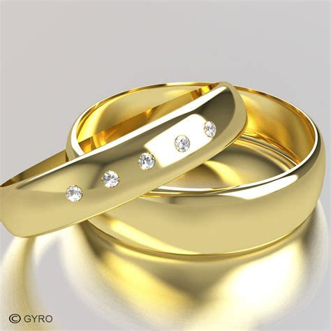 Yellow Gold Diamond Set Band His and Hers set of Wedding