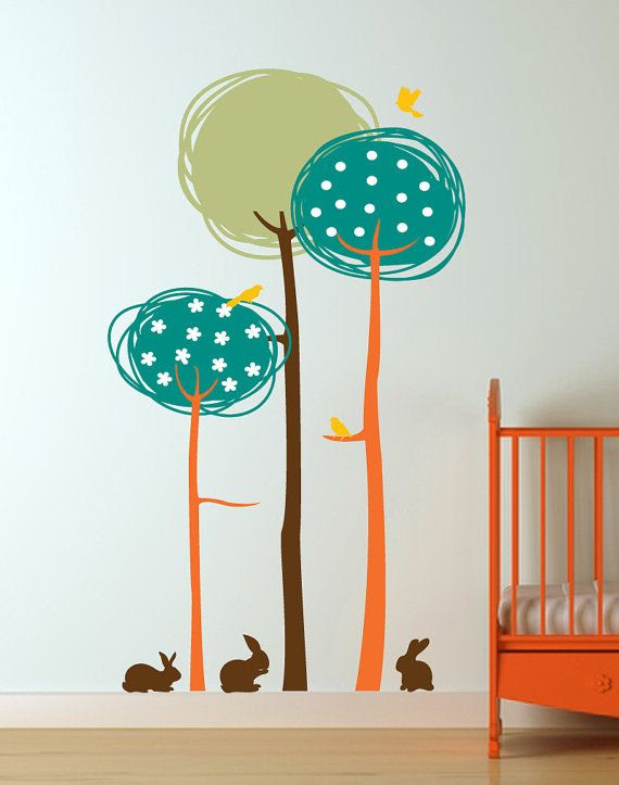 Abstract Trees with Birds and Bunnies Vinyl Wall by InAnInstantArt