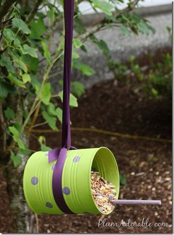DIY Bird Feeder // tin can, ribbon, hot glue, stick, and seed