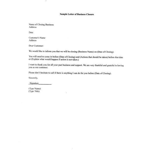 Business Letter of Closure for Customers