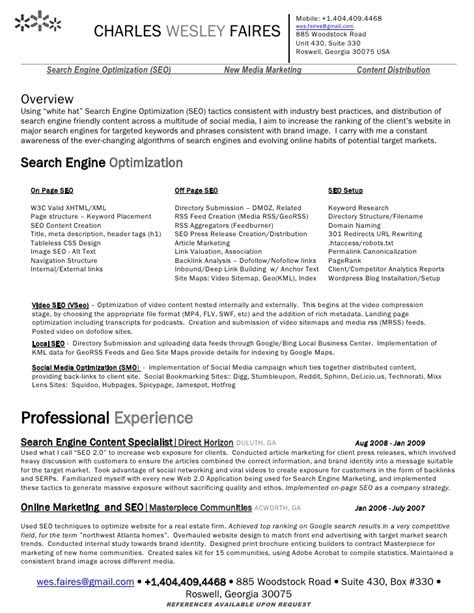 [Wes Faires] Search Engine Optimization (Seo) Resume