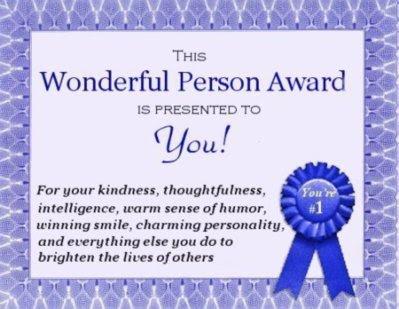 Wonderful Person Award Friends Myniceprofilecom