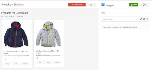 google shopping shortlist page