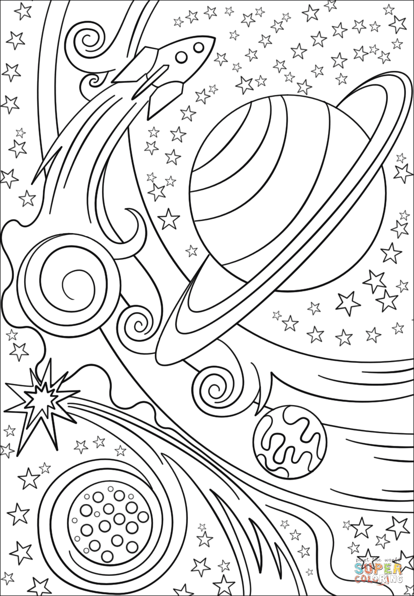 Download Trippy Space - Rocket and Planets coloring page | Free Printable Coloring Pages