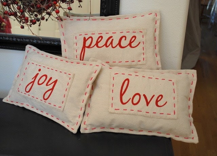 Decorative Shabby Chic Canvas Christmas Pillow- Joy