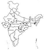 Thumbnail of Fifteen community health centers in 8 states in India to which malaria is endemic. 1, Udaipur; 2, Dahod; 3, Valsad; 4, Jhabua; 5, Annupur; 6, Gondia; 7, Gadchiroli; 8, Jagdalpur; 9, Baikunthpur; 10, Koraput; 11, Rayagada; 12, Jaldega; 13, Bano; 14, Manu Bazar; 15, Shantir Bazar.