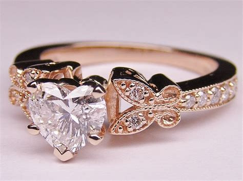 Engagement Ring  Heart Shape Diamond Butterfly Vintage