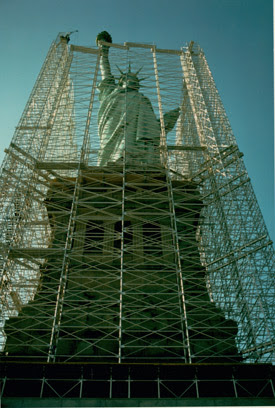 The Statue of Liberty during the restoration in 1984.