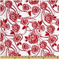 Stretch Cotton Poplin Roses White/Red