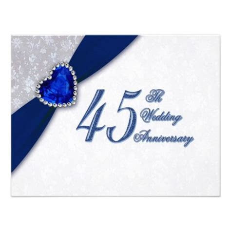 Damask 45th Wedding Anniversary Invitation   Zazzle.com