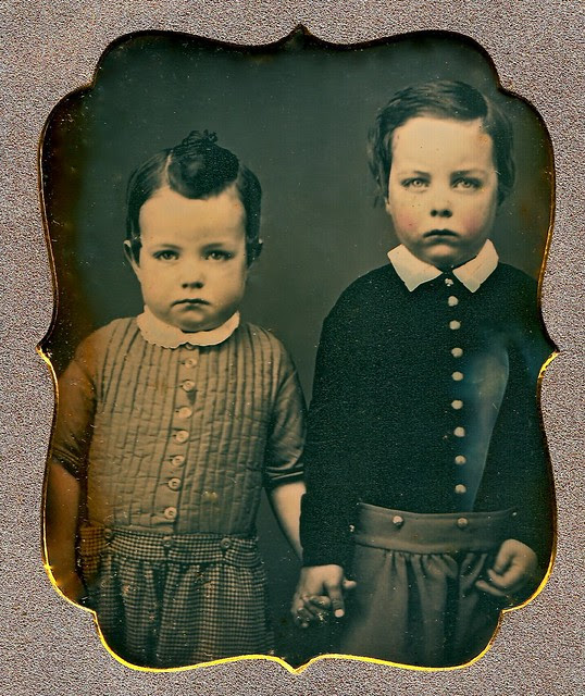 Serious Little Brothers, 1/6th-Plate Daguerreotype, Circa 1850