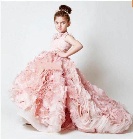 2016 PInk Little Girls Pageant Dresses Long Ruffled Flower