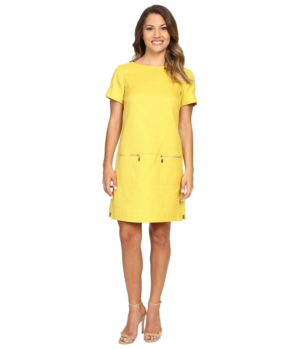 Tahari by ASL Petite - Petite Basket Weave Drop Waist Dress (Goldenrod) Women's Dress