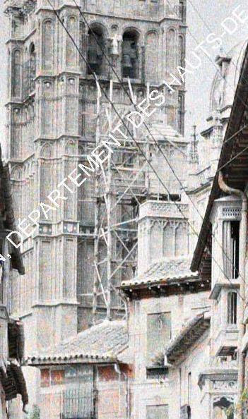 Andamios en la Catedral de Toledo entre el 15 y el 17 de junio de 1914. Autocromo de Auguste Léon (detalle). © Musée Albert-Kahn - Département des Hauts-de-Seine