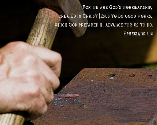 [Photo of a workman's hand with a Scripture verse superimposed]