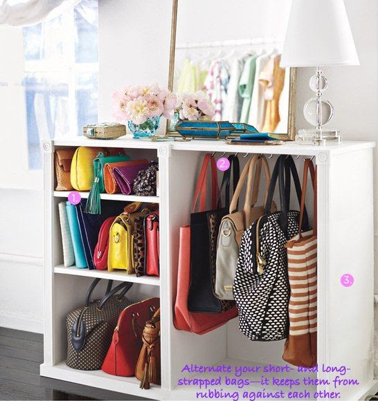 How To: Organize Your Stuff: Shelve your clutches, hang the rest.