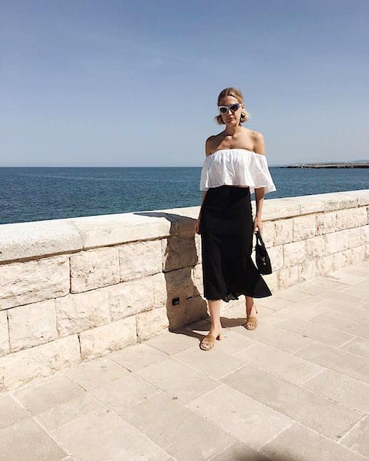 Le Fashion Blog Off The Shoulder White Blouse Black Midi Skirt Sandals Via @Haleboyd