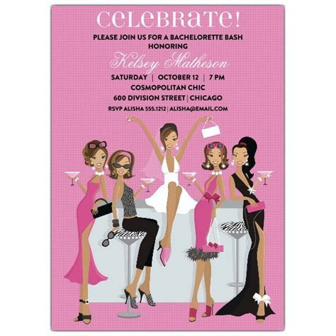 Divas African American Bachelorette Invitations   PaperStyle