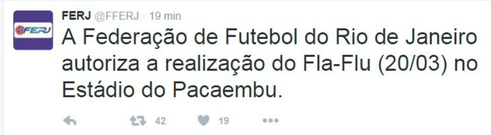 Twitter Ferj - Fla-Flu em São Paulo (Foto: Reprodução / Twitter)