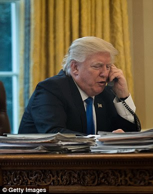 President Donald Trump spoke on the phone with Chancellor of Germany Angela Merkel in the Oval Office on Saturday