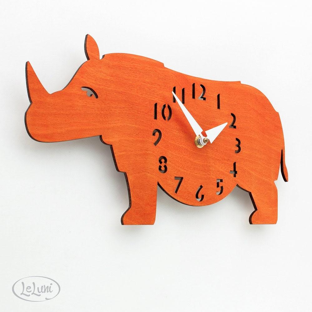 "The ""Rotund Rhino in Orange"" designer wall mounted clock from LeLuni - LeLuni"