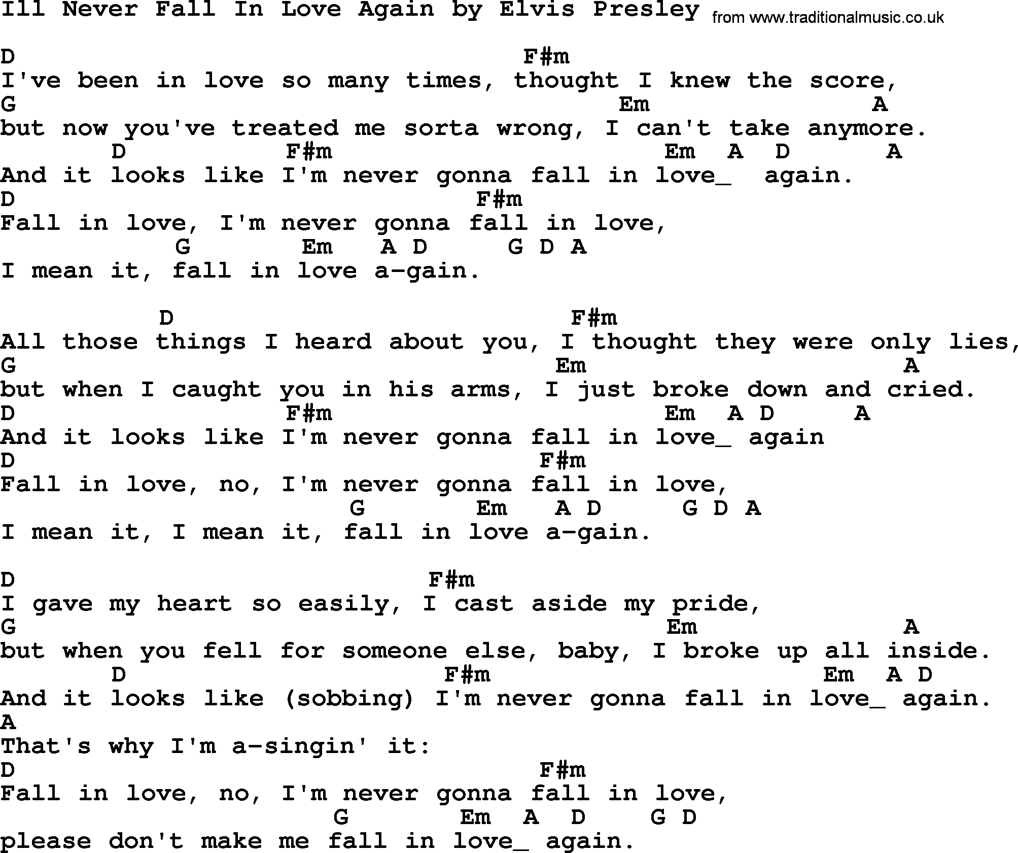Ill Never Fall In Love Again By Elvis Presley Lyrics And Chords