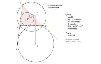 Geometry Problem 1207: Triangle, Circle, Incenter, Circumcenter, Excenter, Circumradius, Perpendicular