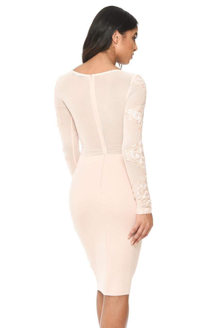 Nigeria blush bodycon midi dress hawaiian print