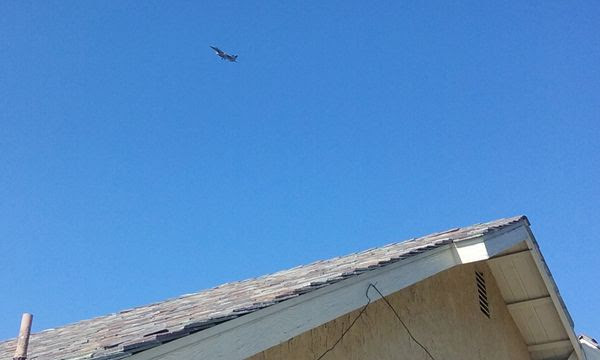 An F-15 Eagle flies over a BBQ party that I attended in Stanton, California...on July 4, 2018.