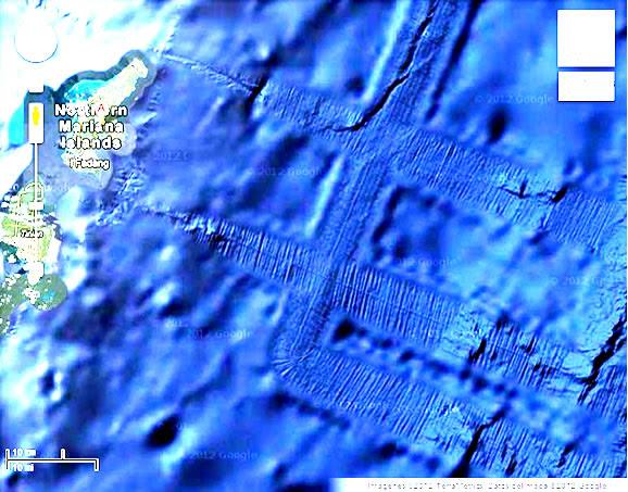 Evidencia de pistas submarinas cerca de la isla de Saipán, islas Marianas del Norte