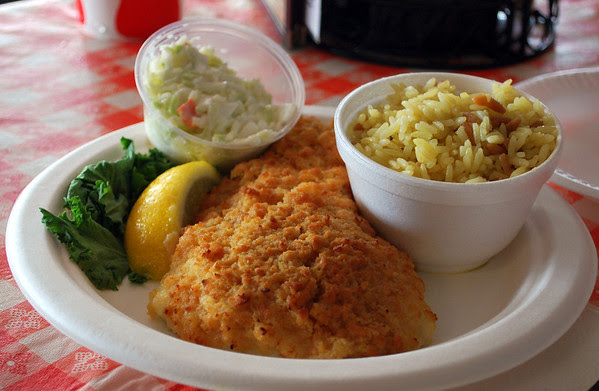 Baked haddock with cole slaw and rice pilaf.