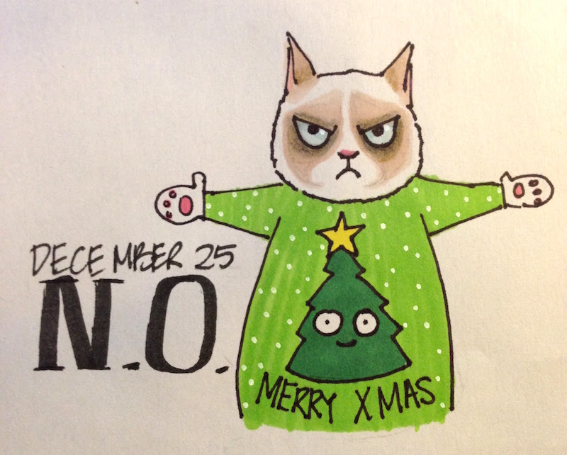 Grumpy cat in holiday sweater, Merry Christmas Tree