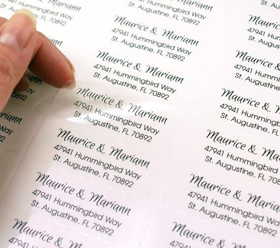 #307-C 60ct Return Address with Initials on Clear Transparent Stickers//Labels for Invitations