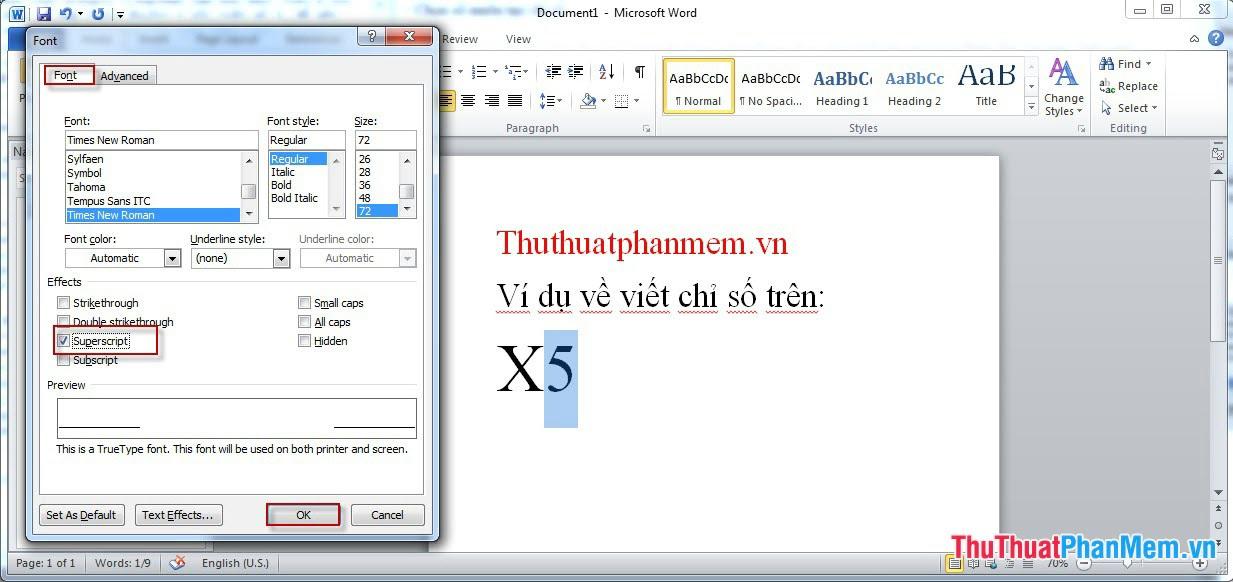Ví dụ cách tạo chỉ số trên trong word