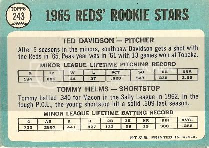 #243 Reds Rookie Stars: Ted Davidson and Tommy Helms (back)