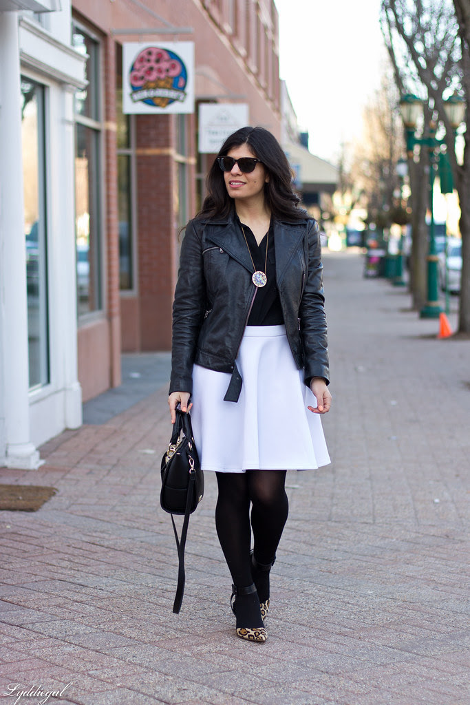 black leather jacket, white skirt, leopard pumps-2.jpg
