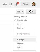 configurações do Gmail cog