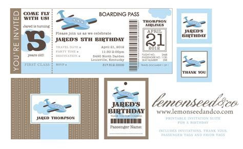 Printable Airline Ticket Invitation Template   Things to