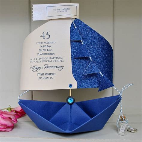 45th sapphire wedding anniversary paper sail boat card by