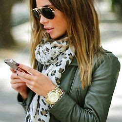 white leopard scarf + olive leather jacket + gold watch