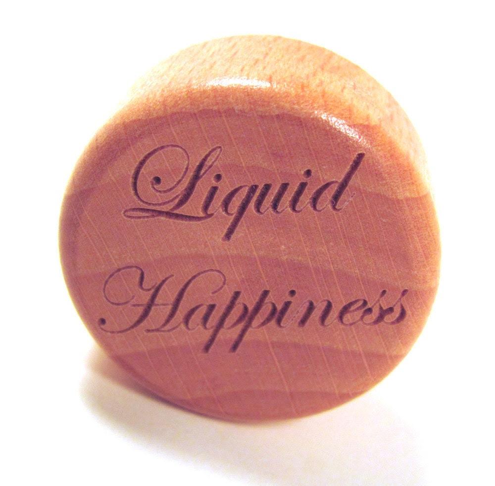 Wood Wine Bottle Stopper - Liquid Happiness - memoriesforlifesb