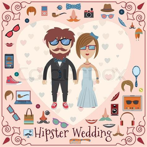 Hipster wedding card with fashion     Stock Vector