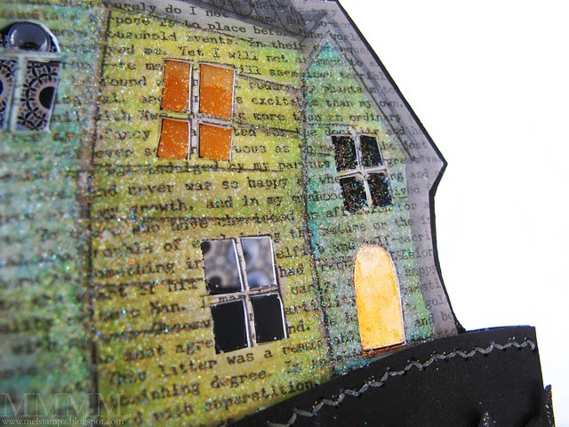 8b added vellum coloured with orange copic & glittered to some windows