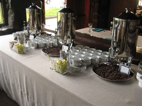 Coffee station on Tuscany Natural linen. White with double