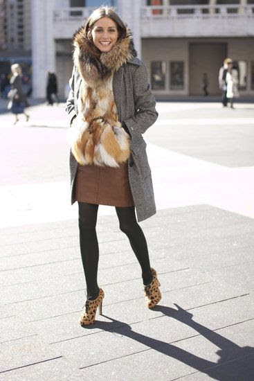 The layered look at its finest. It is a perfect example of how to style faux fur