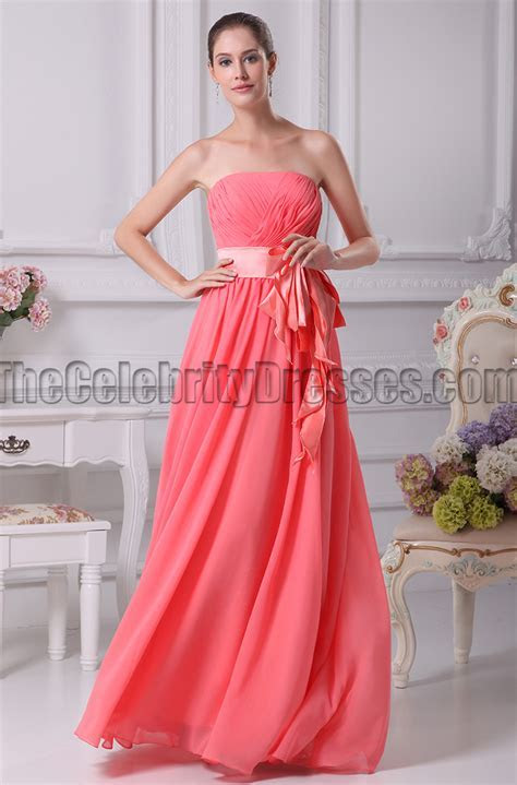 Water Melon Strapless A Line Bridesmaid Prom Dresses