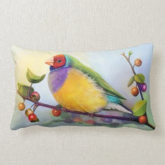 Gouldian finch realistic painting throw pillow